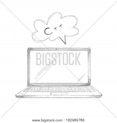 Hand drawn programming language concept laptop c plus plus isolated