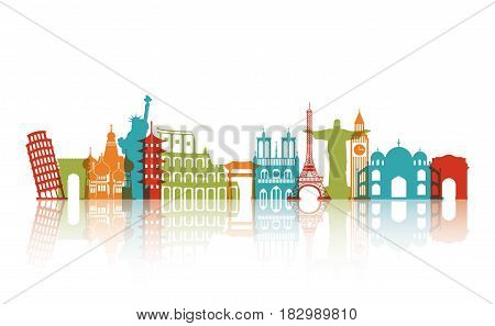 colorful iconis monuments of the world over white background. travel and tourism design. vector illustraiton