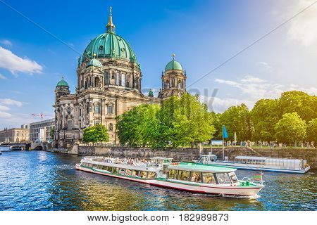 Museumsinsel With Berlin Cathedral With And Excursion Boat On Spree River At Sunset, Berlin, Germany
