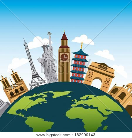 iconics monuments of the world around earth planet over sky background. travel and tourism design. vector illustraiton