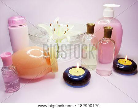 spa hair mask creme liquid soap candles essen