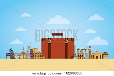 iconic monuments of the world around briefcase icon travel and tourism design. vector illustraiton