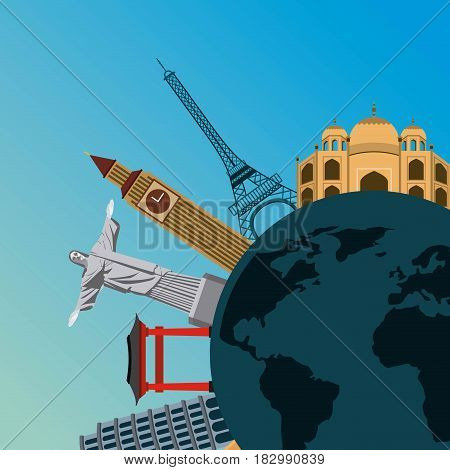 iconics monuments of the world around earth planet over blue background. travel and tourism design. vector illustraiton