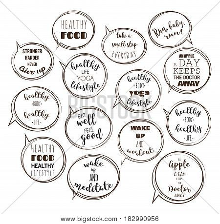 speech bubbles with motivation quotes. vector illustration