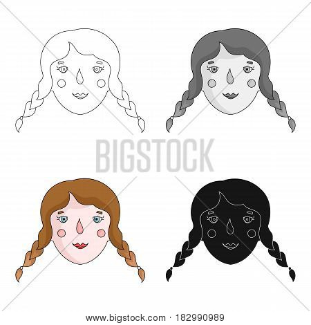 Daughter icon in cartoon design isolated on white background. Family holiday symbol stock vector illustration.