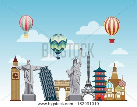 iconics monuments of the world and air balloons flying over sky background. travel and tourism design. vector illustraiton