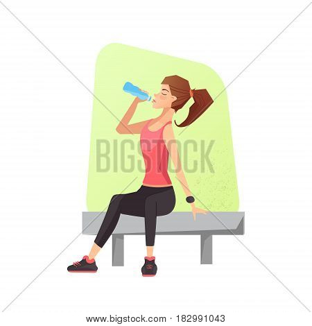 Exhausted woman dehydrated feeling exhaustion and dehydration from working out at gym. Female siting on a bench and drinking water. Vector illustration.