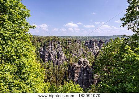 Saxon Switzerland, Germany. Natural rock landscape view