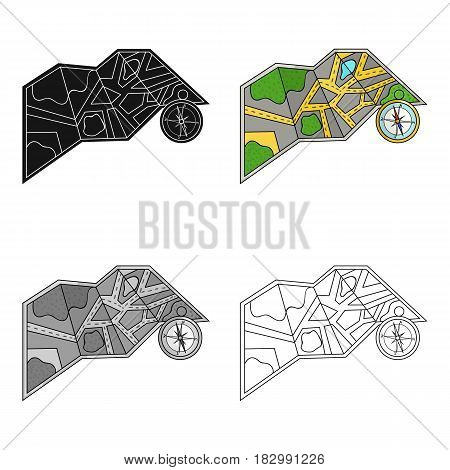 Travel map and compass icon in cartoon design isolated on white background. Family holiday symbol stock vector illustration.
