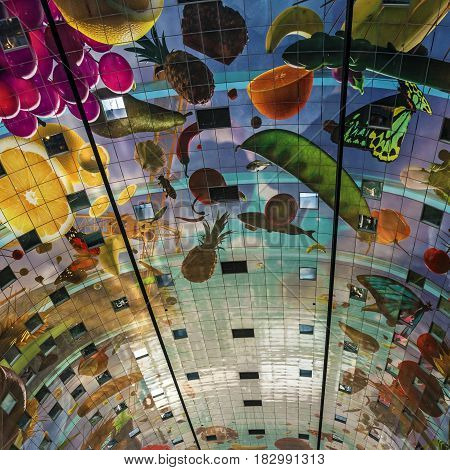 Rotterdam, Netherlands - April 7, 2017: Ceiling of the new Market Hall located in Blaak district, Rotterdam