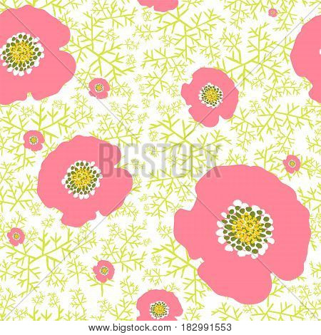 Raster seamless background. Pattern with pink camellias in the foliage