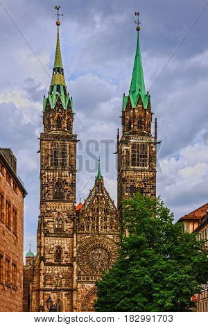 Nuremberg Cathedral church in Germany. St. Lawrence church.