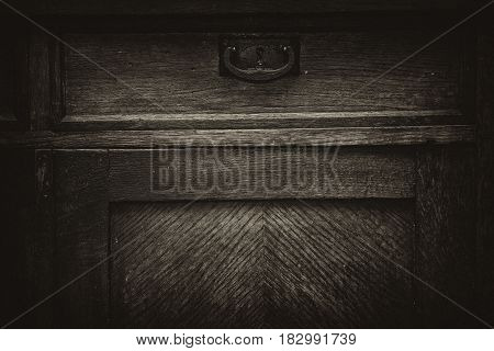 Vintage wooden retro furniture. Background, texture of a wooden surface