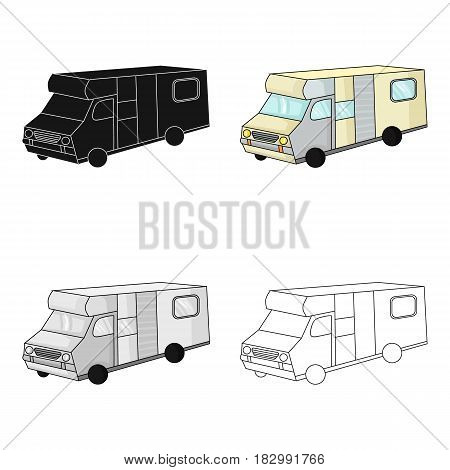 Campervan icon in cartoon design isolated on white background. Family holiday symbol stock vector illustration.