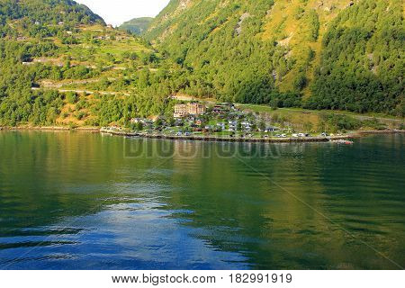 Rural landscape, Geiranger fjord sea side, Norway