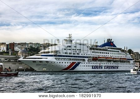 Istanbul, Turkey - April 14, 2017: Luxury cruise liner Louis Cristal in Bosporus.