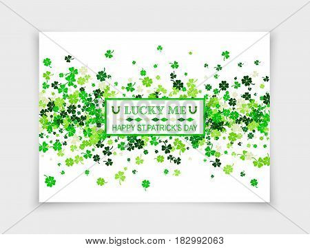 Lucky in Love for Happy Saint Patrick's Day design greeting card with scattered four leaved clovers and shamrocks isolated on white paper background. Vector illustration