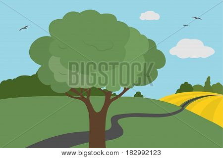 Cartoon colorful view of meadows and field around the road with bushes and tree with leaves under a clear sky with clouds and flying birds in summer or autumn day suitable for vacation - vector illustration