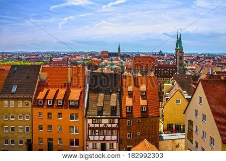 Nuremberg, Germany old town houses panoramic cityscape