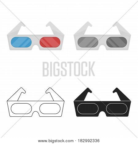Anaglyph 3D glasses icon in cartoon style isolated on white background. Films and cinema symbol vector illustration.