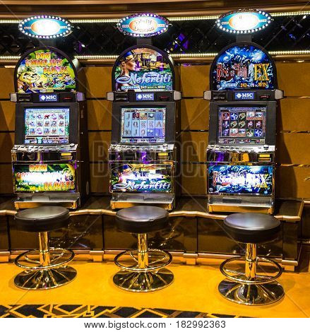 CRUISE LINER SPLENDIDA - MARCH 26, 2017: Gaming slot machines in gambling casino of Cruise liner Splendida, MSC