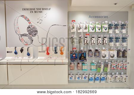 HONG KONG - CIRCA NOVEMBER, 2016: inside SmarTone shop. SmarTone Telecommunications Holdings Limited is a wireless communications carrier with operating subsidiaries in Hong Kong and Macau.