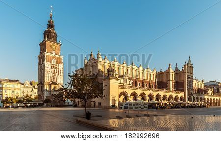 Historic city center of Krakow with cloth hall and town hall Poland