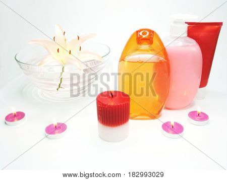 spa hair mask creme liquid soap candles essenses and white lily