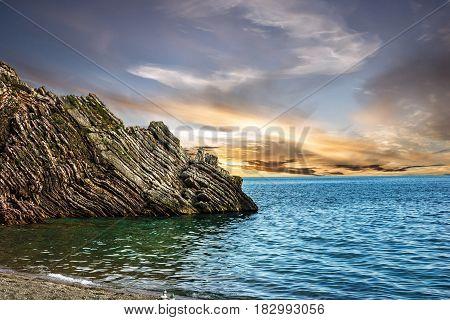 Sea sunset view, Budva, Montenegro, Adriatic sea.