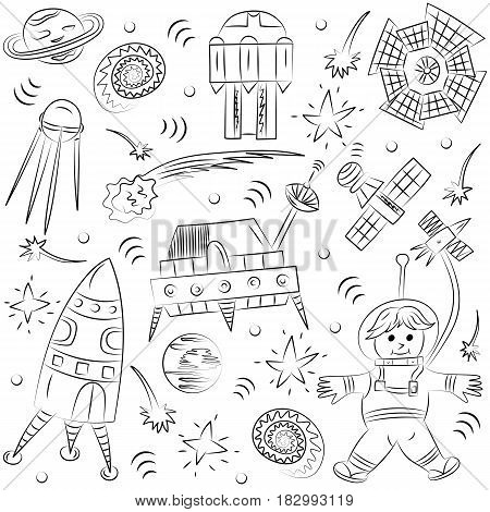 Hand Drawn Doodle Spaceman Spaceships Rockets Falling Stars Planets and Comets. Sketch Style. Vector Illustration.