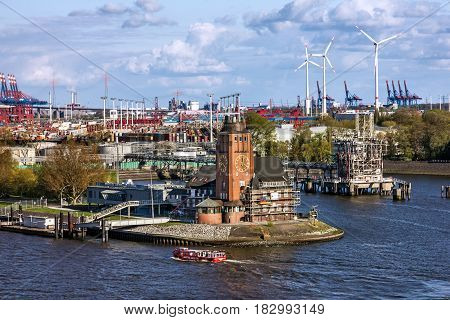 Rotterdam, Netherlands - April 4, 2017: Harbor of Rotterdam sea port, Holland