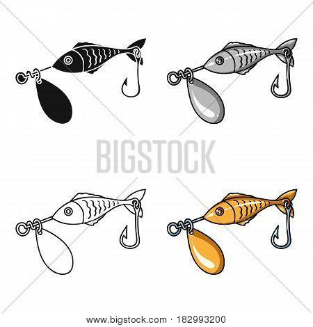 Fishing bait icon in cartoon design isolated on white background. Fishing symbol stock vector illustration.