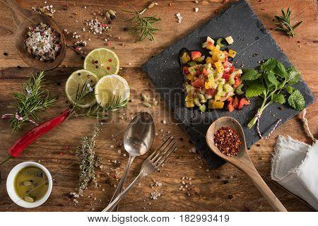 Mediterranean vegetables gazpacho for a fish dish
