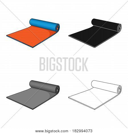 Fitness mat icon in cartoon style isolated on white background. Sport and fitness symbol vector illustration.