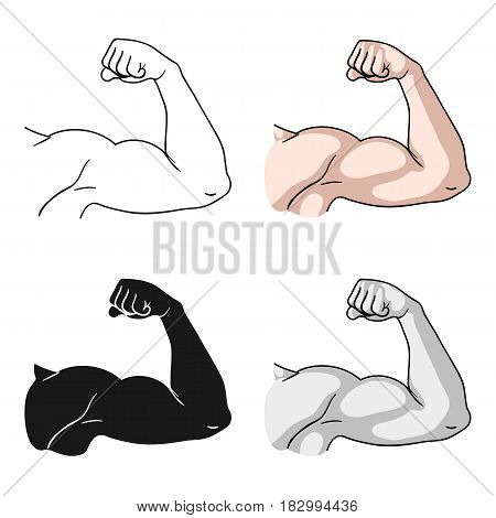 Biceps icon in cartoon style isolated on white background. Sport and fitness symbol vector illustration.