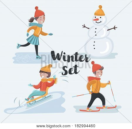 Vector cartoon funny sen of scene illustrations of winter holidays. Skiing, skating girl, snowman, sledding. Winter kids fun on snowy outdoor landscape. Isolated characters on white background
