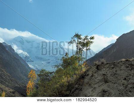 Rakaposhi Glacier Mountain Peak In The Karakoram Mountain Range, Nagar, Gilgit-Baltistan, Northern Pakistan
