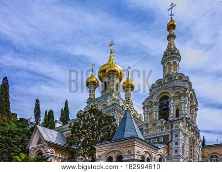 Orthodox Christian church Yalta, Crimea, Russia. Alexander Nevsky Cathedral.