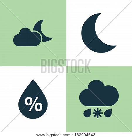Weather Icons Set. Collection Of Moonlight, Wet, Moon And Other Elements. Also Includes Symbols Such As Moonlight, Humidity, Crescent.