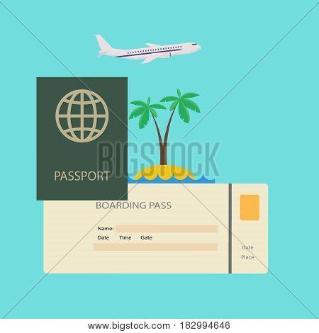 Journey concept. Travel passport with ticket tropical resort on plane