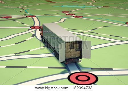 Image of map of streets with truck loaded stack of packed boxes. 3D Rendering