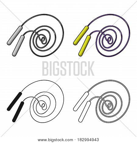 Jump rope icon in cartoon style isolated on white background. Sport and fitness symbol vector illustration.