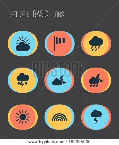 Meteorology Icons Set. Collection Of Sun, Sun-Cloud, Flag And Other Elements. Also Includes Symbols Such As Light, Rainy, Flash.