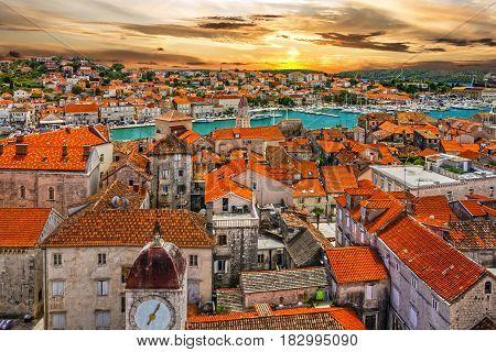 Croatia, Trogir town sunset view, Croatian tourist destination.