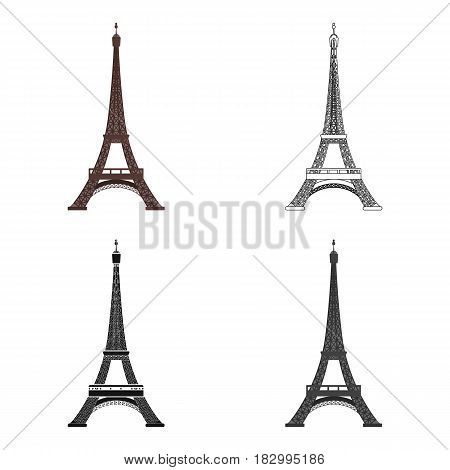 Eiffel tower icon in cartoon design isolated on white background. France country symbol stock vector illustration.