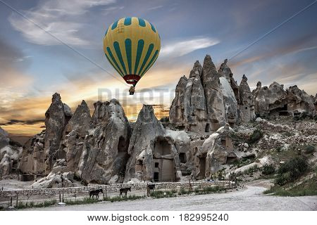 Goreme park in Turkey. Hot air balloon open air museum Cappadocia