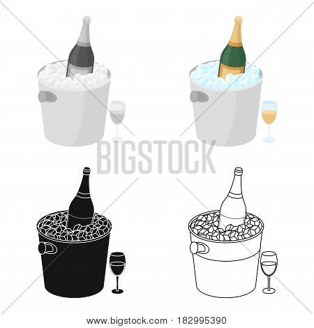 Champagne bottle in an ice bucket icon in cartoon desgn isolated on white background. France country symbol stock vector illustration.