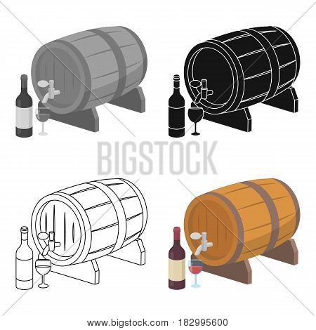Wooden wine barrel icon in cartoon design isolated on white background. France country symbol stock vector illustration.