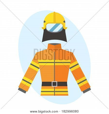 Firefighter yellow fire-proof uniform equipment rescue safety emergency fighter professional protective job vector illustration. Danger profession cartoon coat icon.