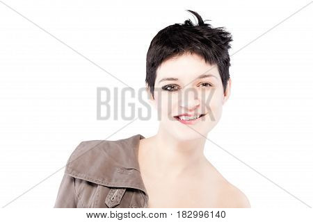 Half Make Up And Clothes On A Girl With Short Hair